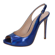 scarpe donna THE SELLER 38 decolte blu pelle lucida BZ322-C