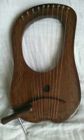 Lyre Rose Wood 10 Metal Strings / Celtic Lyra Harp with Free Carrying Case