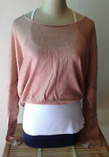 Womens Knit Top Free Size New  S M L Long Sleeve Loose Wool Acrylic Beige