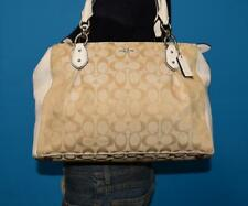 COACH COLLETTE 12CM Beige Jacquard Ivory Leather Lrg Carryall Purse Bag F36376