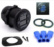 Waterproof 12V Blue Round LED Digital Volt Amp Meter Ammeter Current Voltmeter