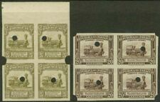 Paraguay 1944-5 Locomotive 5c & 20c proof BLOCKS