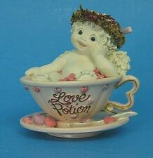 """SiGned KriStiN 2001 DreamsiCles """"Love PotiOn"""" Cherub Angel in a Tea Cup & Saucer"""