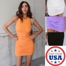 Women Sexy Bodycon Elegant Stretch Sleeveless Dress Jumper Cocktail Party Club