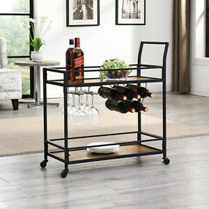FirsTime & Co. Bar Industrial Cart Metal Frame Faux Wood Shelves 6-Wine Glasses