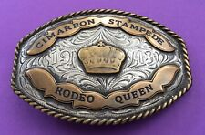 VTG Rare Antique Sterling Silver 1943 CIMARRON STAMPEDE RODEO QUEEN Belt Buckle