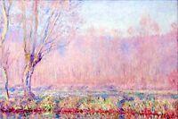 "Claude Monet Pink Willows CANVAS ART PRINT poster 24""X16"""