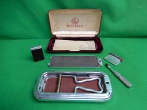 Vintage England Rolls Razor Safety Razor Shaving Kit w/ Case and Box COMPLETE