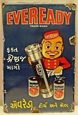 EVEREADY BATTERIES SIGN ADVERTISING VINTAGE PORCELAIN ENAMEL TORCH COLLECTIBLES