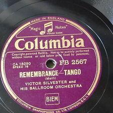 78rpm VICTOR SYLVESTER remembrance tango / a media luz , tango