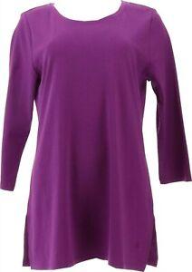Isaac Mizrahi Pima Cotton Tunic Tall Side Slits Wild Berry M NEW A370269