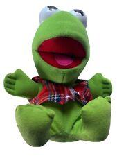 "1987 Baby Kermit The Frog 7"" Stuffed Plush Vtg. Toy Plaid vest McDonald's No Hat"