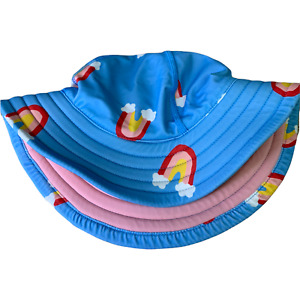Lot of 2 Hanna Andersson Sun Hats Size Small Toddler Girl's Blue Rainbow Clouds