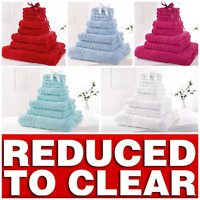* REDUCED * 9 PIECE BATHROOM BALE TOWEL SET SOFT SATIN BATH 100% COTTON TOWELS