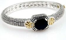 Philip Andre 18k Gold & Sterling Silver  Diamond & Onyx Bangle Bracelet