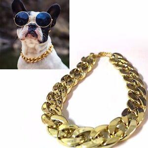 Adjustable Pet Cat Puppy Dog Golden Plated Chain Collar Punk Safety Collar Decor