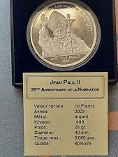 10 Francs 2003 Congo-DRC - 25th Anniversary of the election, PP, Silver.