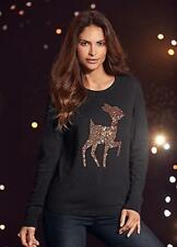 Kaleidoscope Bambi Christmas Jumper Size 14/16 Black/Christmas/Sequin/Thin/NEW