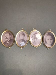 """Vintage Brass Metal Oval Frame Bubble Glass  5"""" x 3 1/2"""" roughly"""