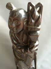 Chinese silver inlaid carved figure C19th