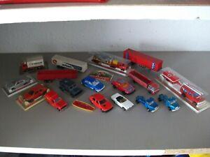 Lot ancien majorette pub rail route boite box camion véhicule renault mercedes
