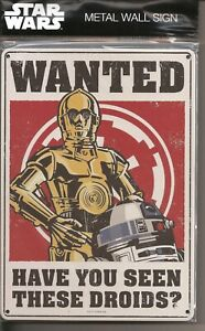 °STAR WARS METAL WALL SIGN - DROIDS WANTED° 100% Ofizielle Ware NEU OVP