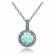 Sterling Silver Created Opal and White Topaz Halo Necklace