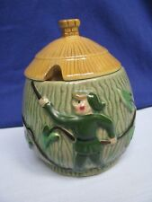 Jam Jelly Pot Leprechaun Climbs Tree House Cottage w Thatched Roof Lid SugarBowl