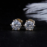 14K Yellow Gold Finish 4Ct Round Moissanite Screw Back Solitaire Stud Earrings
