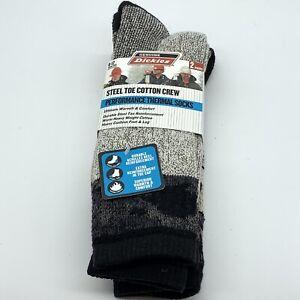 2 pair Black Genuine Dickies Steel Toe Cotton Crew Thermal Socks Shoe Size 6-12