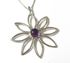 Funky 925 Sterling Silver Large Flower Pendant with Real Amethyst & Silver Chan