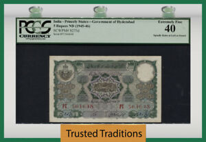 TT PK S273d 1945-46 INDIA -- PRINCELY STATES 5 RUPEES PCGS 40 EXTREMELY FINE!