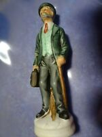 "Vintage 6 1/2"" Bisque Figurine-Man w. Cane/Briefcase-Doctor-Salesman,Lawyer?"