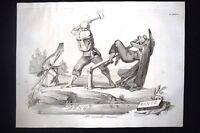 Incisione d'allegoria e satira Firenze, Granduca Leopoldo II Don Pirlone 1851