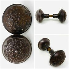 ORNATE ANTIQUE BRASS/BRONZE DOORKNOB SET