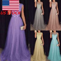 US Plus Size Women's Sequin Maxi Wedding Dress Sleeveless Party Evening Dress