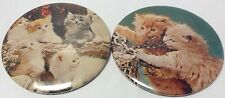 """2 X Vintage 3"""" Button Pinback CUTE LITTLE KITTENS~  2 Anciens Macarons CHATONS"""