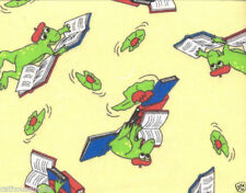 Reading Frogs Yellow FLANNEL Quilt Fabric - 1 Yard