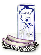 French Sole Womens Snow Leopard And Lilac Ponyhair India Ballet Flats Size 7