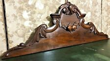 Architectural salvage scroll leaves pediment Antique french wooden crest cornice