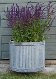 Large Vintage Galvanised Metal Ribbed Round Tub Planters Plant Flower Pot Garden