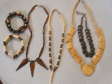 Bone Carved Jewelry Lot of 6 Vintage