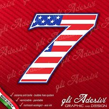 Adesivo Stickers NUMERO 7 moto auto cross gara USA Star & Stripes