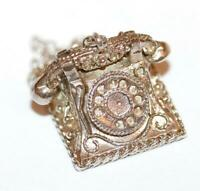 Rare Moving Telephone Sterling Silver Vintage Bracelet Charm, Ornate Detail 7.6g