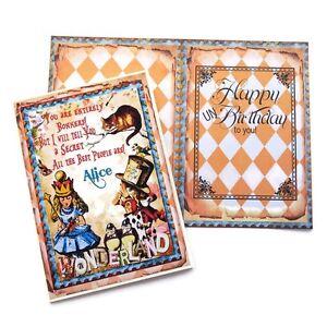NEW Alice in Wonderland UN Birthday Card-Vintage Retro Children-Cheshire Cat