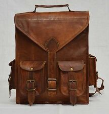 Vintage Real genuine leather Men's Backpack Bag laptop Satchel briefcase Brown