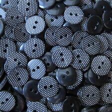 10 kleine schwarze Blusen Kunststoff Knöpfe mit weißen Punkten (hk349-13mm)