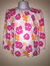 TWINS GIRLS LONG SLEEVE OLD NAVY BRIGHT PINK ORANGE WHITE FLOWER SHIRT TEE 5T
