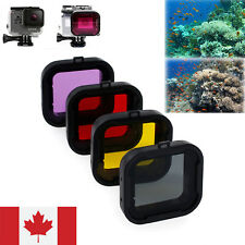 4x Underwater Diving Lens Filter Purple Red Yellow Grey For For Gopro HERO3/4 CA