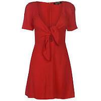Firetrap Blackseal Knot Dress Ladies Red Premium Size Uk 10 (S)